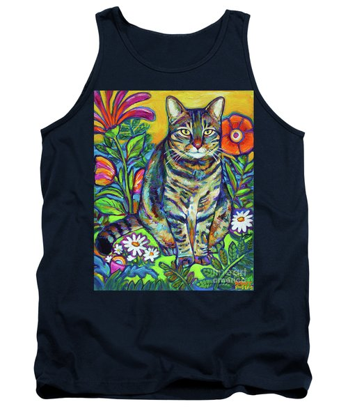 Tank Top featuring the painting Flower Kitty by Robert Phelps