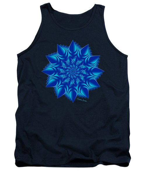 Fractal Flower In Blue Tank Top
