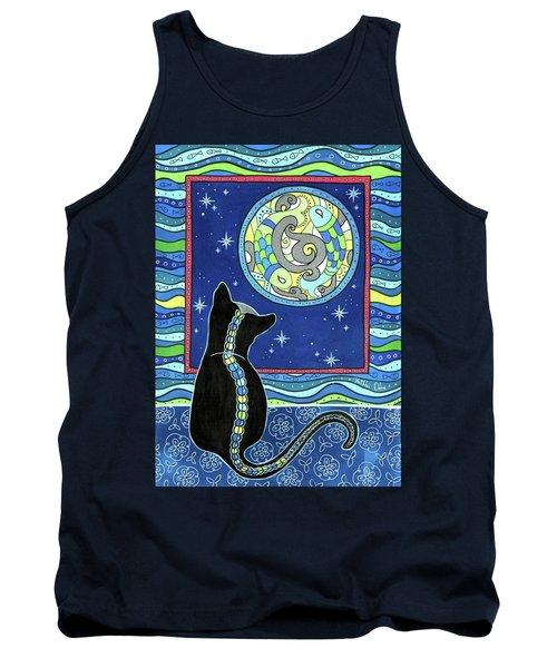 Pisces Cat Zodiac - Full Moon Tank Top