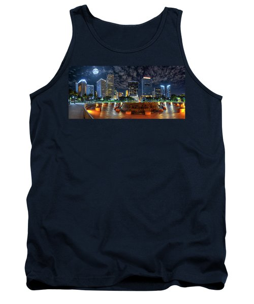 Full Moon Over Bayfront Park In Downtown Miami Tank Top