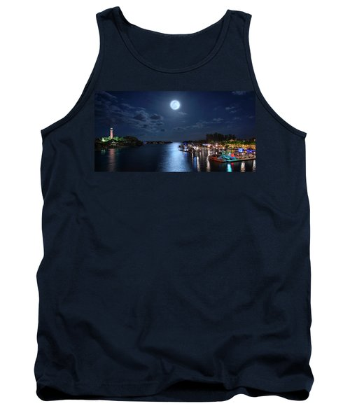 Full Moon Over Jupiter Lighthouse And Inlet In Florida Tank Top