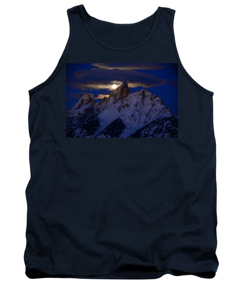 Full Moon Sets Over The Grand Teton Tank Top