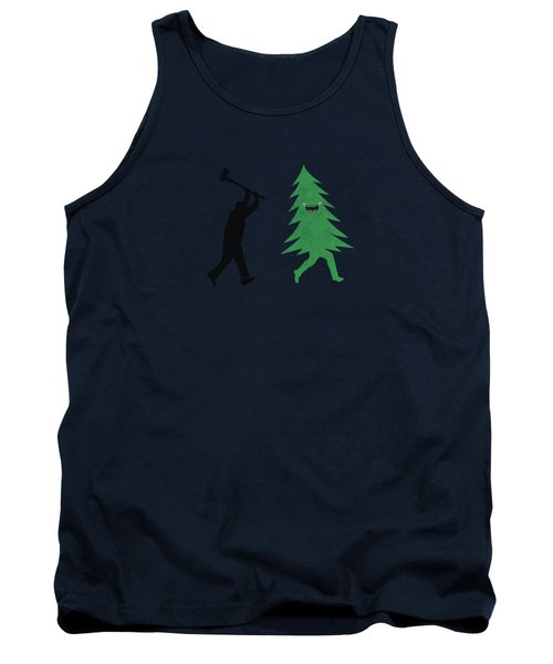 Funny Cartoon Christmas Tree Is Chased By Lumberjack Run Forrest Run Tank Top