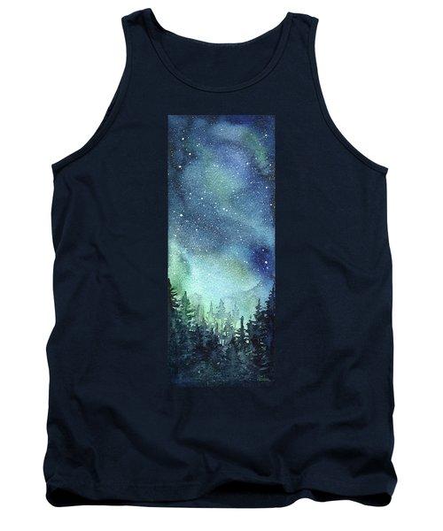Galaxy Watercolor Aurora Painting Tank Top
