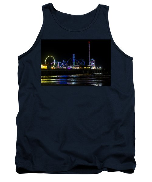 Galveston Island Historic Pleasure Pier At Night Tank Top