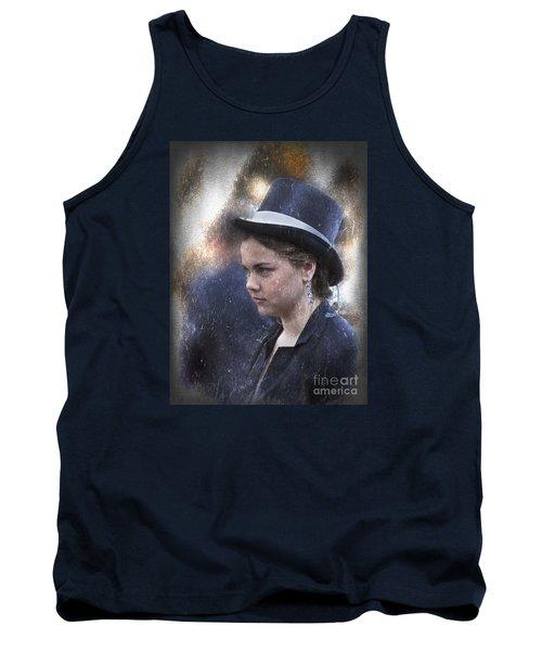 Girl In A Dark Blue Hat Tank Top by Elaine Teague