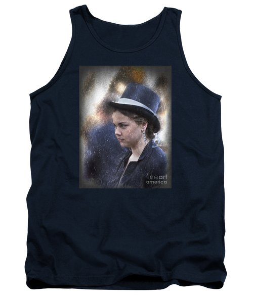 Girl In A Dark Blue Hat Tank Top