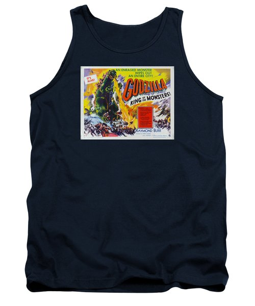 Godzilla King Of The Monsters An Enraged Monster Wipes Out An Entire City Vintage Movie Poster Tank Top