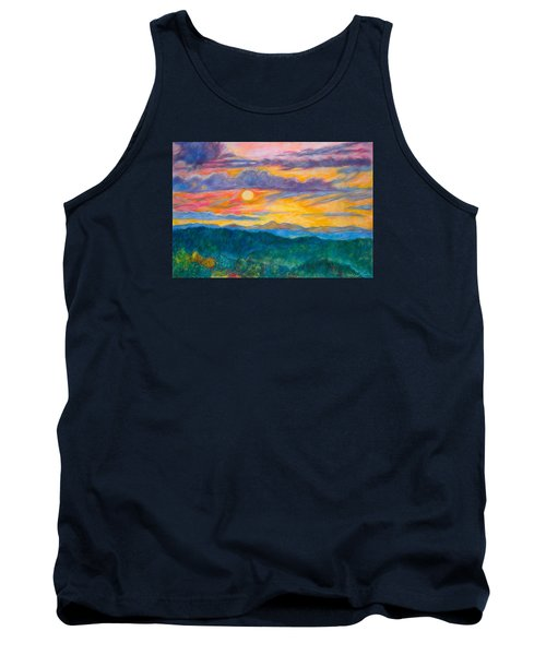 Tank Top featuring the painting Golden Blue Ridge Sunset by Kendall Kessler