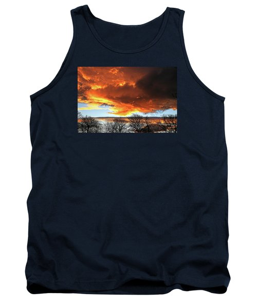 Golden Sunset With Filigree Trees Tank Top
