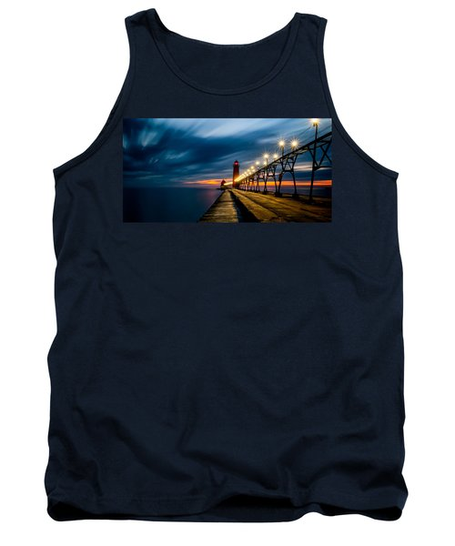 Grand Haven Lighthouse Tank Top by Larry Carr