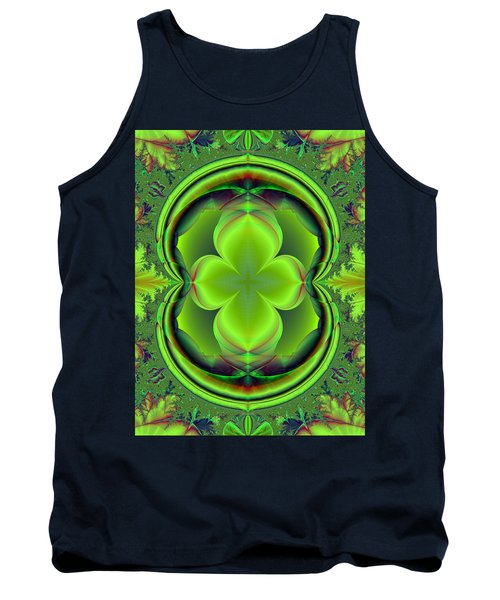 Tank Top featuring the digital art Green Clover by Svetlana Nikolova
