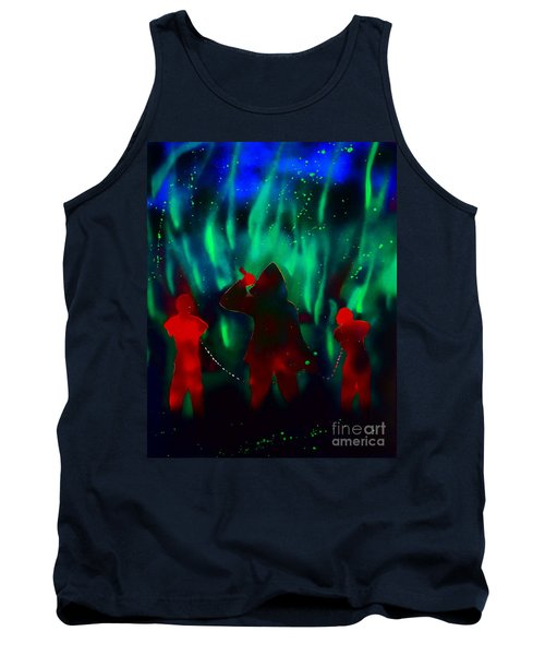 Green Flames In The Night Tank Top by Justin Moore