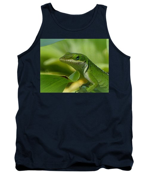 Green Gecko On Green Leaves Tank Top by Lori Seaman