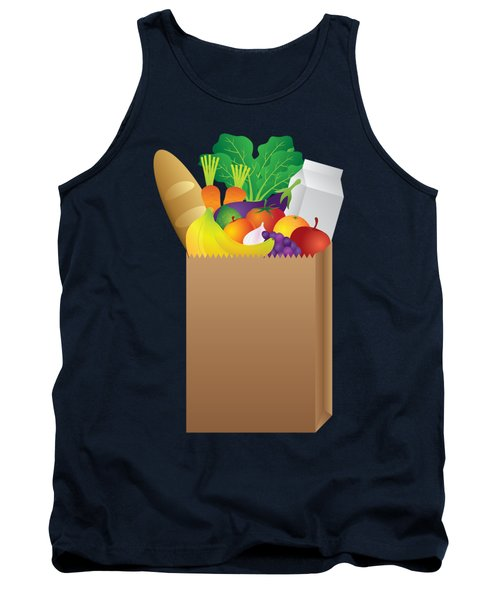 Grocery Paper Bag Of Food Illustration Tank Top