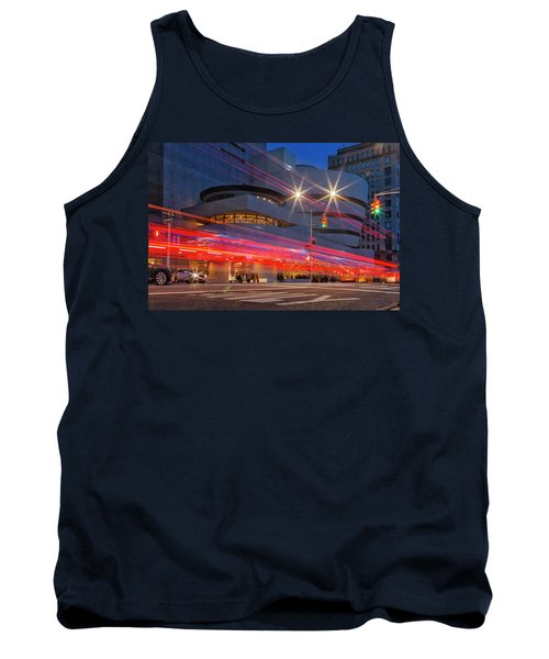 Tank Top featuring the photograph Guggenheim Museum Nyc Light Streaks by Susan Candelario