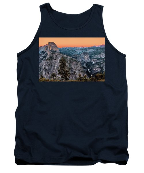 Halfdome And The Waterfalls At Sunset Tank Top