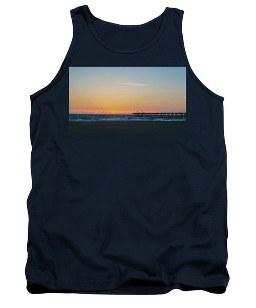 Hermosa Beach Pier At Sunset With Seagulls Tank Top by Mark Barclay