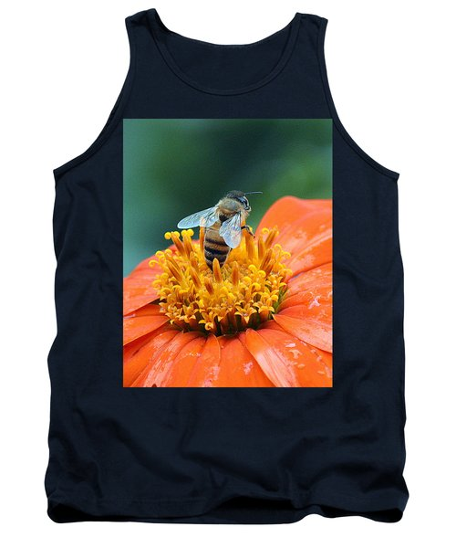 Honeybee On Orange Flower Tank Top