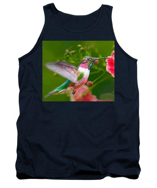 Hummingbird And Flower Painting Tank Top
