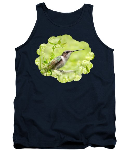 Hummingbird Hiding In Flowers Tank Top by Christina Rollo