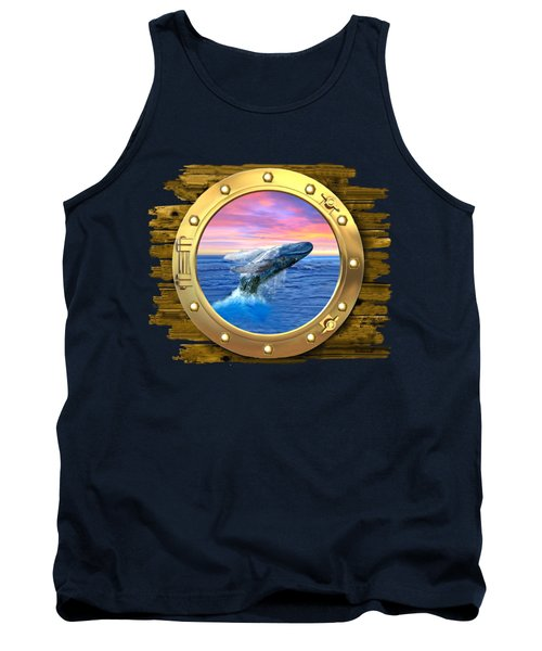 Humpback Whale Breaching At Sunset Tank Top by Glenn Holbrook
