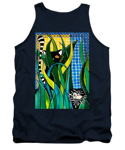 Tank Top featuring the painting Hunter In Camouflage - Cat Art By Dora Hathazi Mendes by Dora Hathazi Mendes