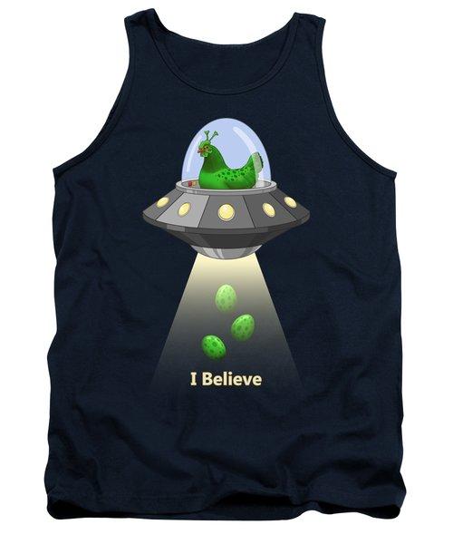 I Believe In Green Chicken Aliens Tank Top