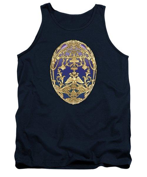 Imperial Faberge Eggs - Tsarevich Egg On Blue Velvet Tank Top