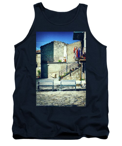 Tank Top featuring the photograph Italian Square With Benches by Silvia Ganora