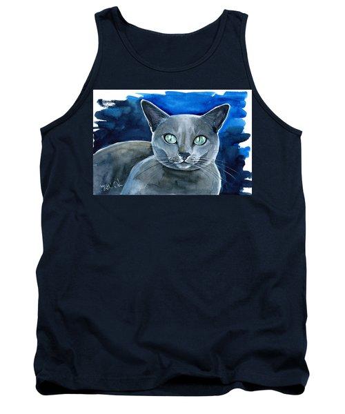 Jackpot - Russian Blue Cat Painting Tank Top