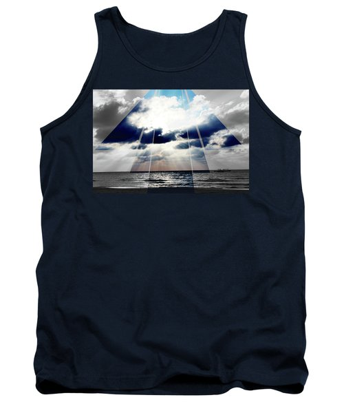 Jamaica Sunset Art Deco Bw With Color Tank Top