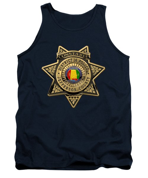 Tank Top featuring the digital art Jefferson County Sheriff's Department - Constable Badge Over Blue Velvet by Serge Averbukh