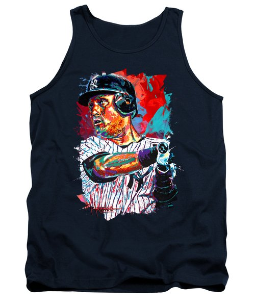 Jeter At Bat Tank Top by Maria Arango