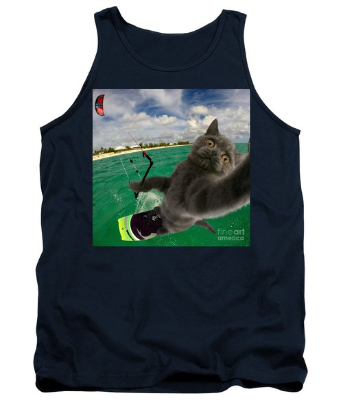 Kite Surfing Cat Selfie Tank Top
