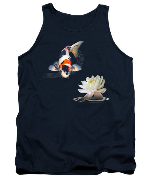 Koi Carp Abstract With Water Lily Square Tank Top