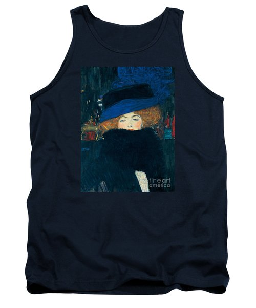 Lady With A Hat And A Feather Boa Tank Top by Gustav Klimt