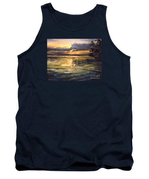 Tank Top featuring the painting Lake by Arturas Slapsys