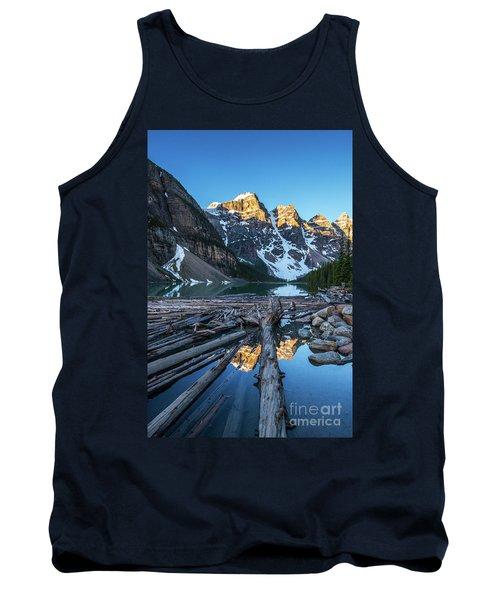 Lake Moraine Peaks Reflection Logscape Tank Top