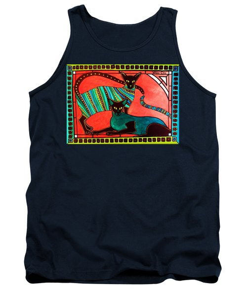 Tank Top featuring the painting Legend Of The Siamese - Cat Art By Dora Hathazi Mendes by Dora Hathazi Mendes