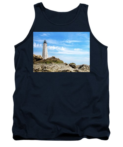 Tank Top featuring the photograph Lighthouse And Rocks by Dawn Romine