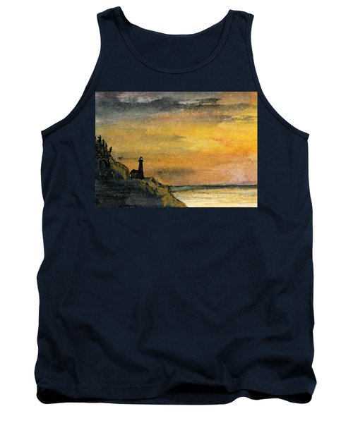 Lighthouse Oversees Coast Tank Top by R Kyllo
