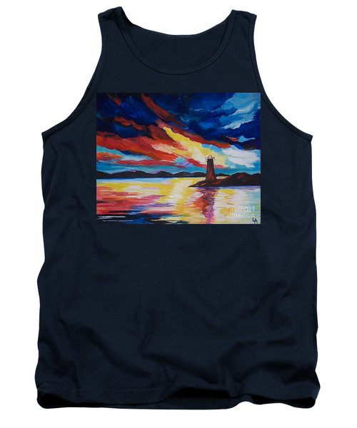 Tank Top featuring the painting Lighthouse Storm by Leslie Allen