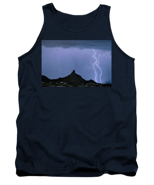 Tank Top featuring the photograph Lightning Bolts And Pinnacle Peak North Scottsdale Arizona by James BO Insogna