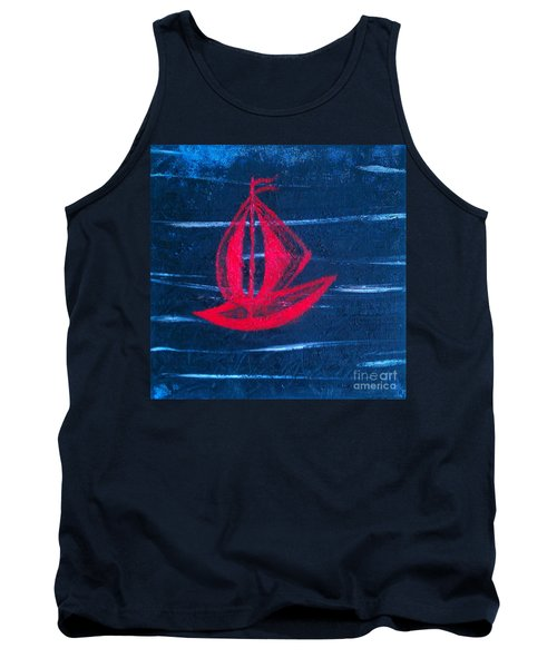 Tank Top featuring the painting Little Red Boat  by Jacqueline McReynolds