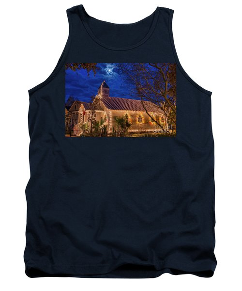Tank Top featuring the photograph Little Village Church With Star From Heaven Above The Steeple by Bonnie Barry