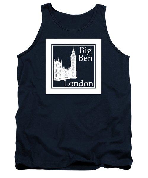 London's Big Ben In White - Inverse  Tank Top