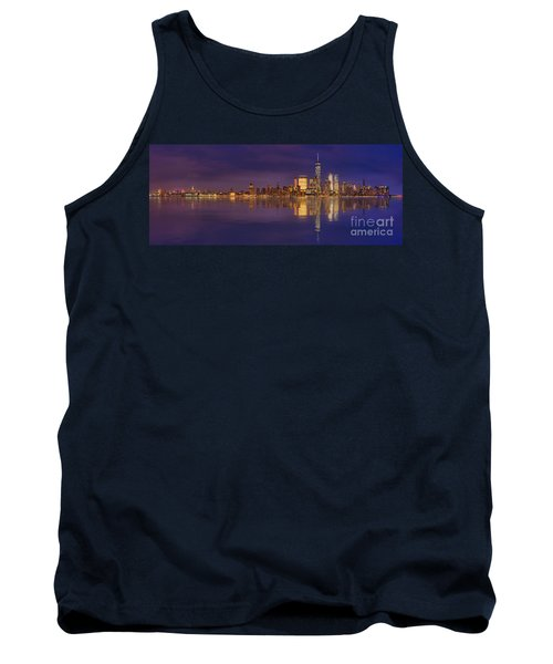 Manhattan, New York At Dusk Panoramic View Tank Top