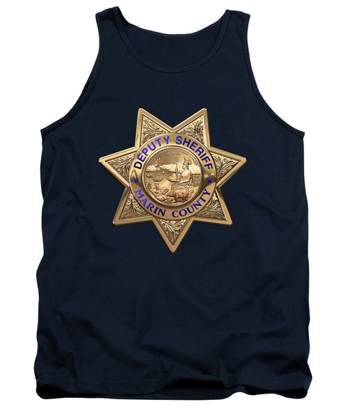 Tank Top featuring the digital art Marin County Sheriff's Department - Deputy Sheriff's Badge Over Blue Velvet by Serge Averbukh