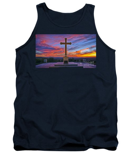 Christian Cross And Amazing Sunset Tank Top by Sam Antonio Photography